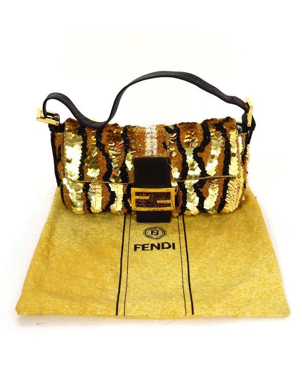 Fendi Gold & Black Sequin Baguette GHW 5