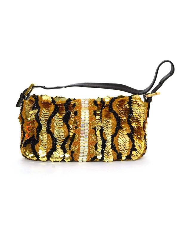 Fendi Gold & Black Sequin Baguette GHW In Good Condition In New York, NY
