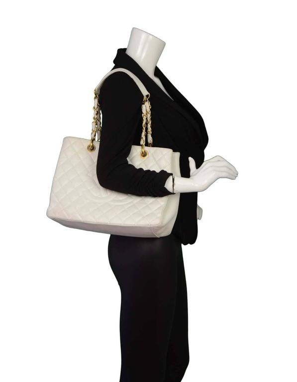 a4a4d676c726 Chanel White Quilted Caviar Grand Shopper Tote GST Bag GHW For Sale ...
