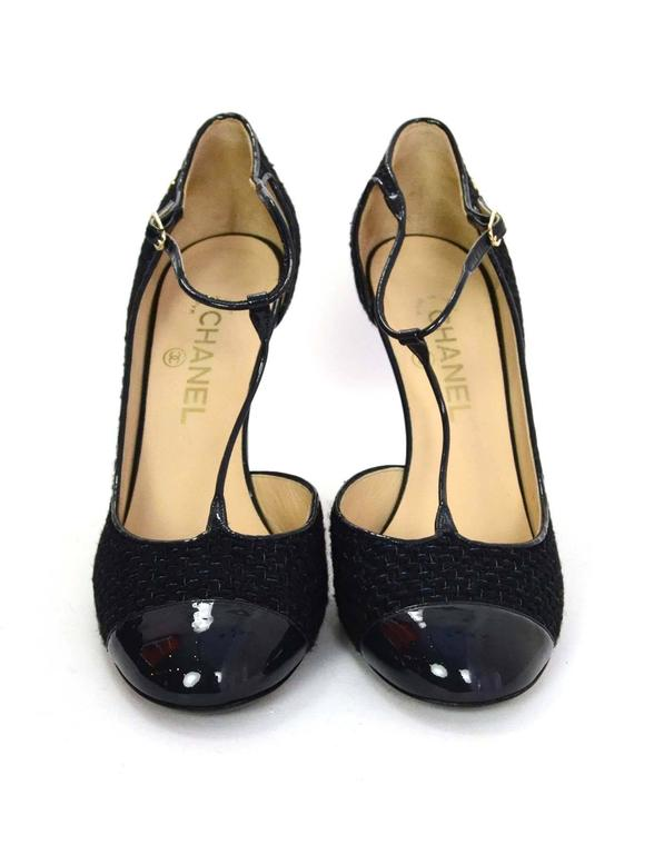 Chanel Navy Patent And Tweed T Strap Pumps Sz 41 5 For