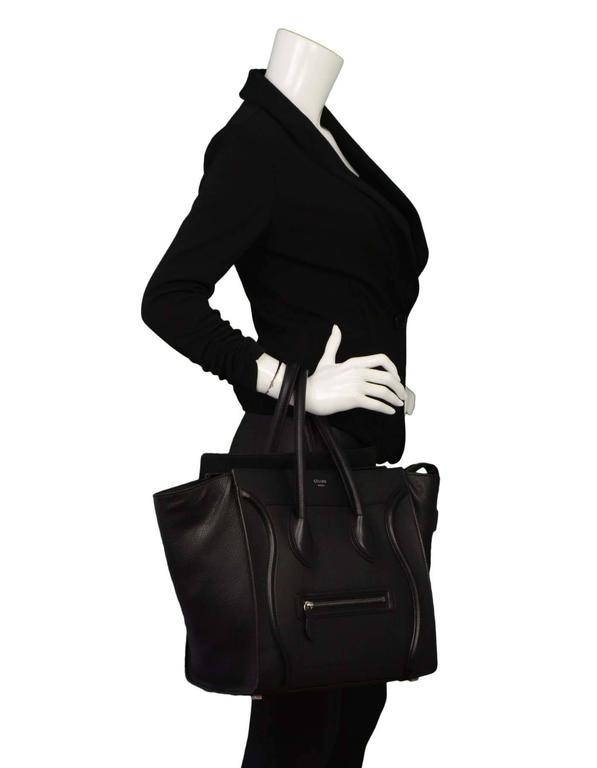 b295b4bff080 Celine Black Drummed Calfskin Mini Luggage Tote Bag SHW For Sale at ...