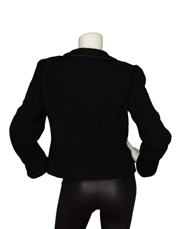Chanel Black Wool Jacket with Sateen Trim Sz 44 2