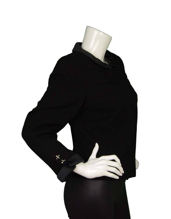 Chanel Black Wool Jacket with Sateen Trim Sz 44 3