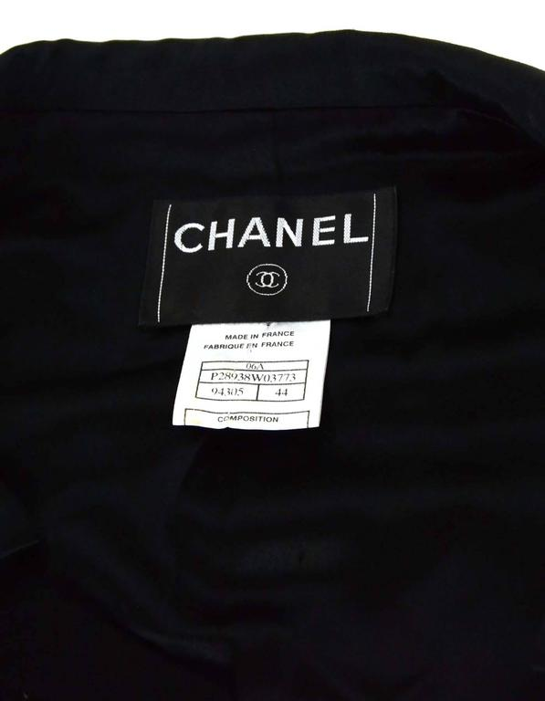 Chanel Black Wool Jacket with Sateen Trim Sz 44 4