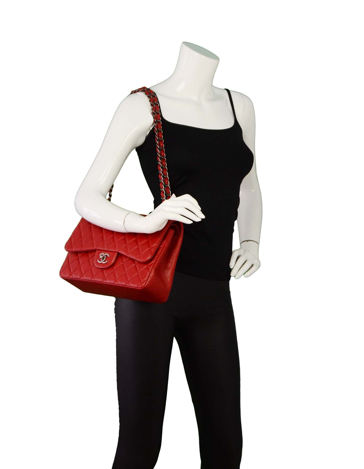 17addf58a03b Chanel Red Quilted Lambskin Leather Double Flap Jumbo Bag with RHW at  1stdibs