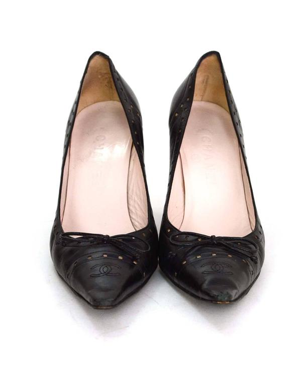 Chanel Perforated Black Pointed Toe Pumps Sz 38.5 3