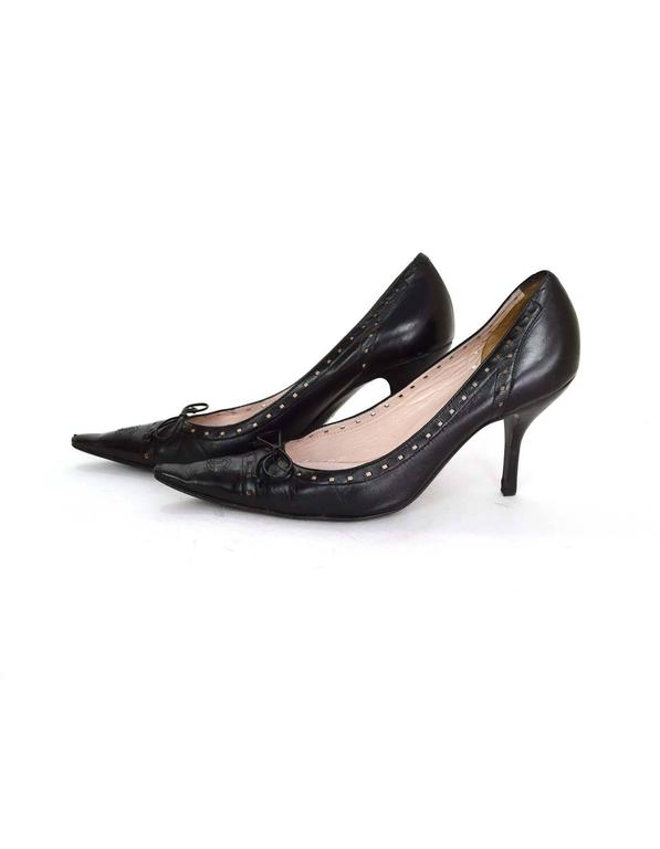Chanel Perforated Black Pointed Toe Pumps Sz 38.5 2