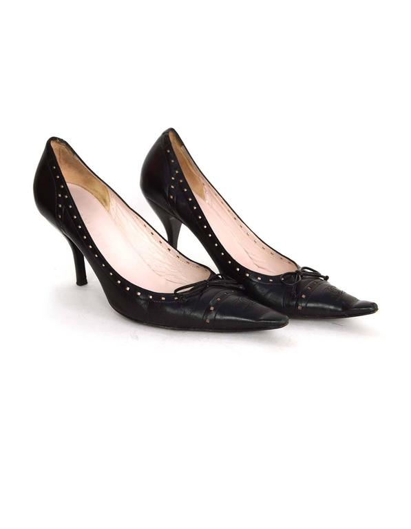 Chanel Perforated Black Pointed Toe Pumps Sz 38.5 4