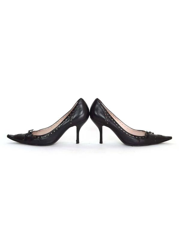 Chanel Perforated Black Pointed Toe Pumps Sz 38.5 6