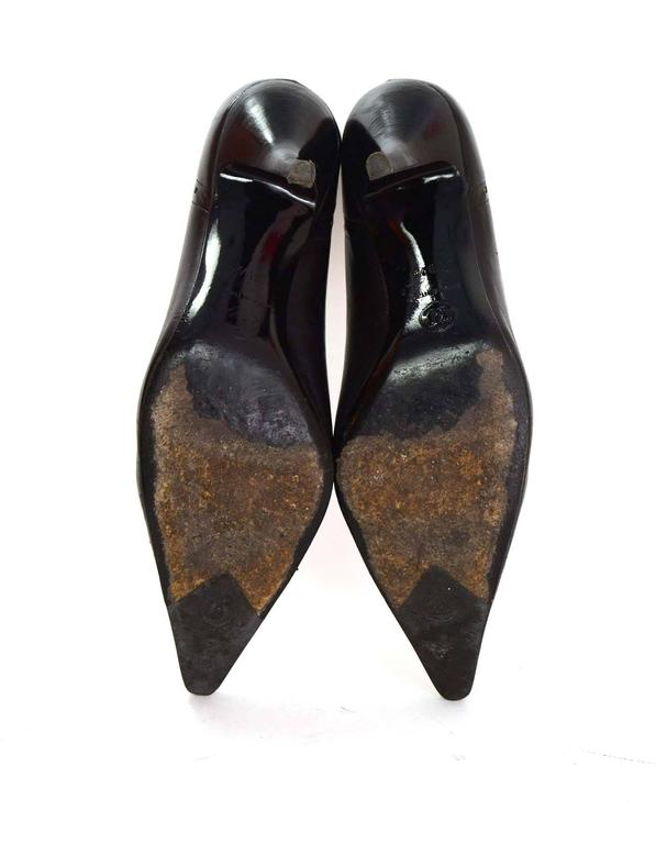 Chanel Perforated Black Pointed Toe Pumps Sz 38.5 7