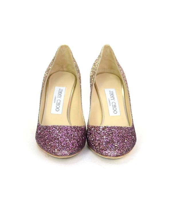 3696ee5e18a2 Jimmy Choo Esme Gold and Pink Ombre Glitter Pumps Sz 36 In Excellent  Condition For Sale