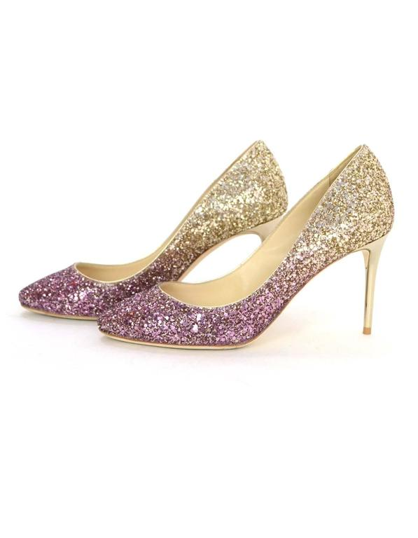 f0c05131b287 Jimmy Choo Esme Gold and Pink Ombre Glitter Pumps Sz 36 For Sale at ...