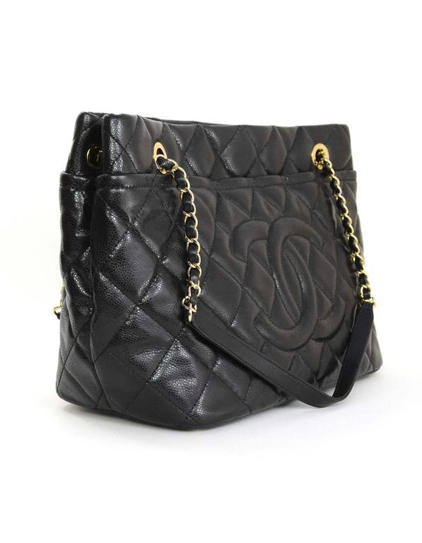 62be0059a798 Chanel Black Glazed Caviar Quilted CC Tote with GHW and Dust bag For Sale  at 1stdibs