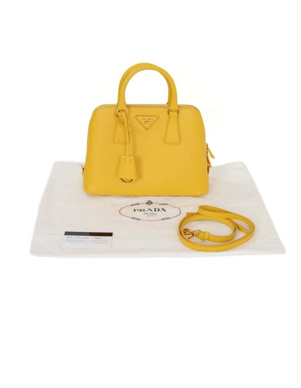 Prada Yellow Mini Promenade Saffiano Bag with GHW and Dust bag 10