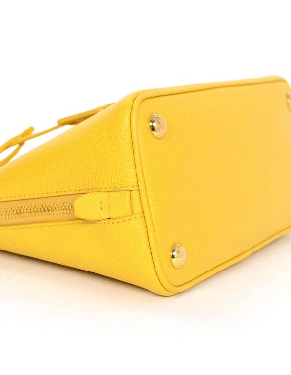 Prada Yellow Mini Promenade Saffiano Bag with GHW and Dust bag 4