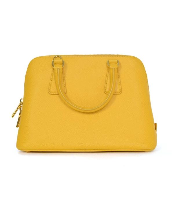 Prada Yellow Mini Promenade Saffiano Bag with GHW and Dust bag 3