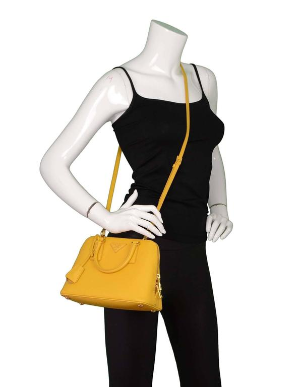 Prada Yellow Mini Promenade Saffiano Bag with GHW and Dust bag 9