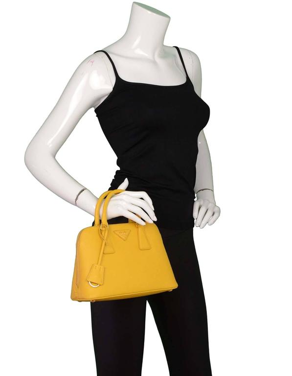 Prada Yellow Mini Promenade Saffiano Bag with GHW and Dust bag 2