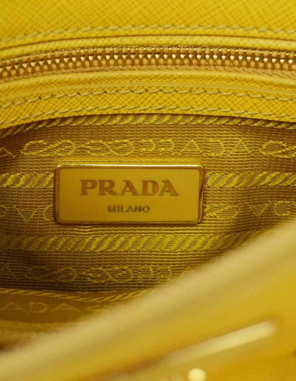 Prada Yellow Mini Promenade Saffiano Bag with GHW and Dust bag 7