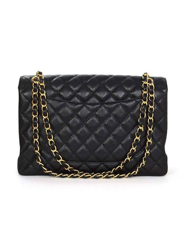 Chanel Black Caviar Leather Quilted Single Flap Maxi