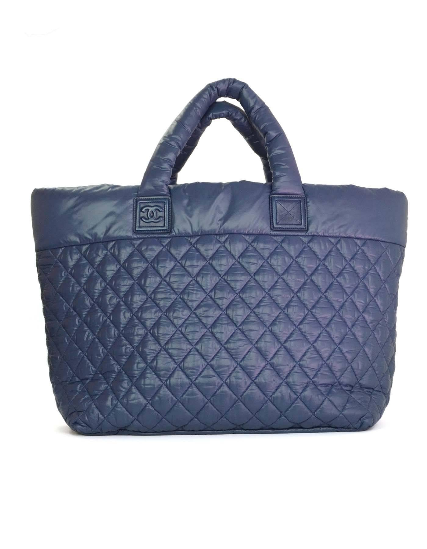 90e983701b8e Chanel Blue Nylon Quilted XL Cocoon Tote Bag For Sale at 1stdibs