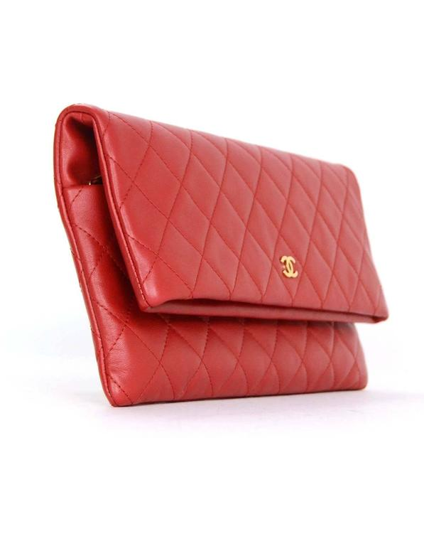 108aed0dcc0e Chanel 2016 Like New Red Lambskin Quilted Fold Over Clutch Bag At
