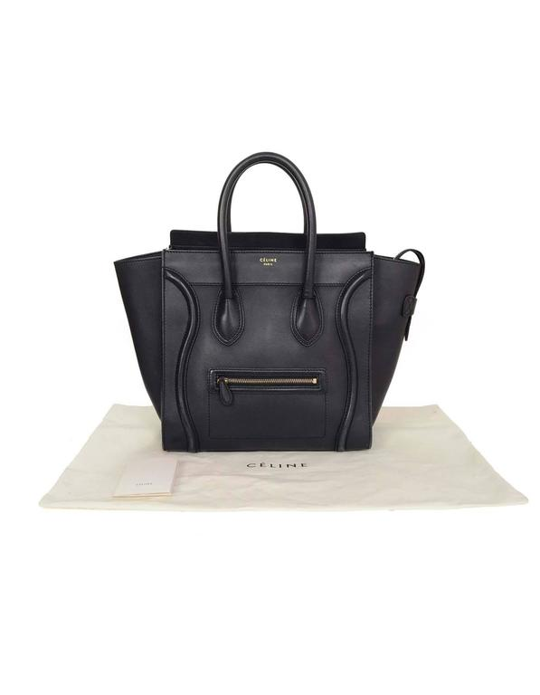 Celine Navy Smooth Leather Mini Luggage Tote Bag For Sale 6