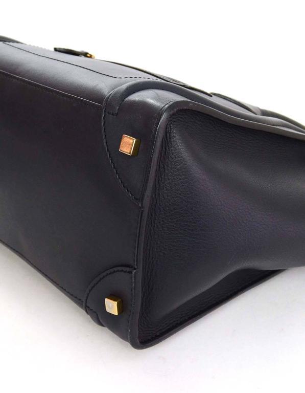 Celine Navy Smooth Leather Mini Luggage Tote Bag 4