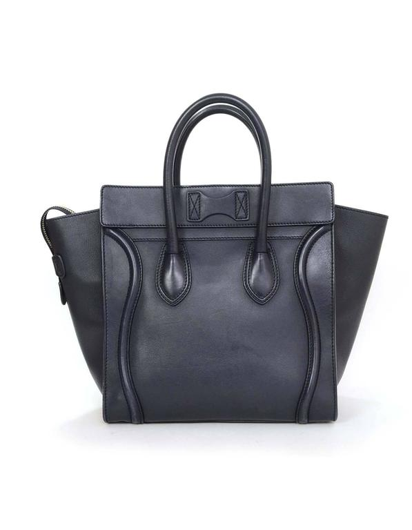 Celine Navy Smooth Leather Mini Luggage Tote Bag In Excellent Condition For Sale In New York, NY