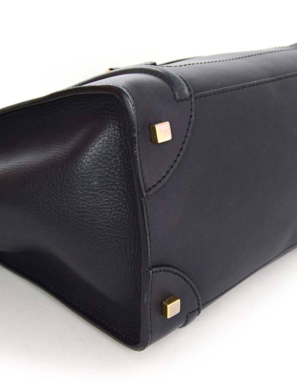 Celine Navy Smooth Leather Mini Luggage Tote Bag 5