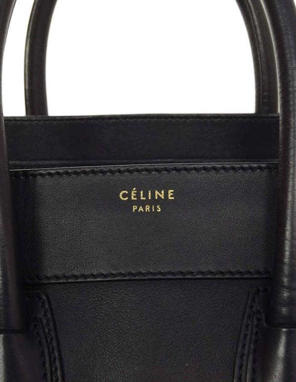 Celine Navy Smooth Leather Mini Luggage Tote Bag For Sale 4