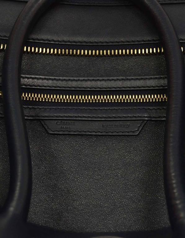Celine Navy Smooth Leather Mini Luggage Tote Bag 7