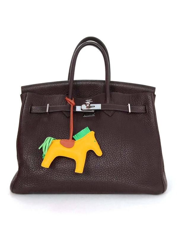 Hermes Lime Yellow, Menthe Green & Fauve Brown Rodeo Horse Charm 