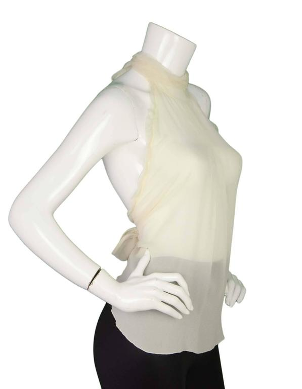 Chanel Sheer Ivory Silk Halter Top Sz 38 2