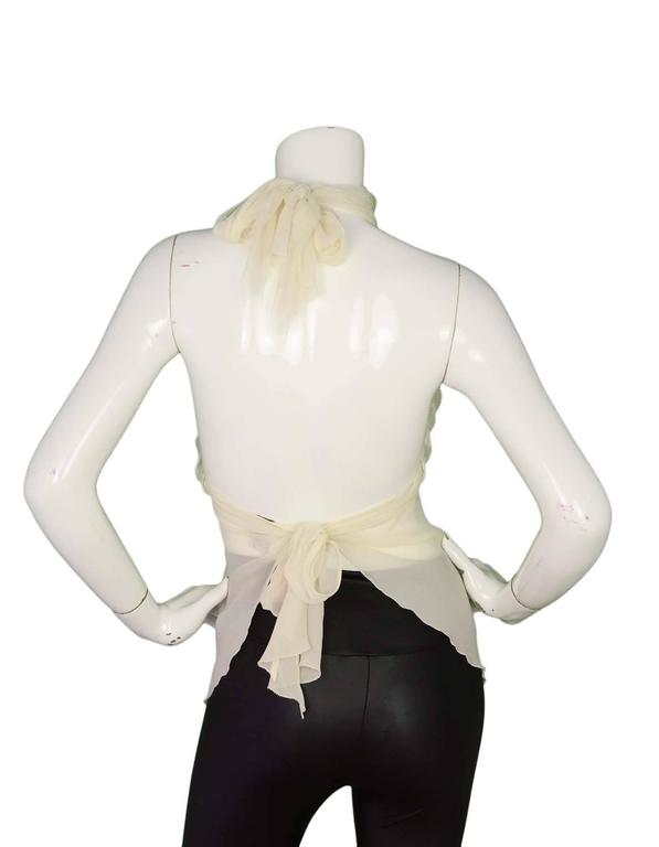 Chanel Sheer Ivory Silk Halter Top Sz 38 3
