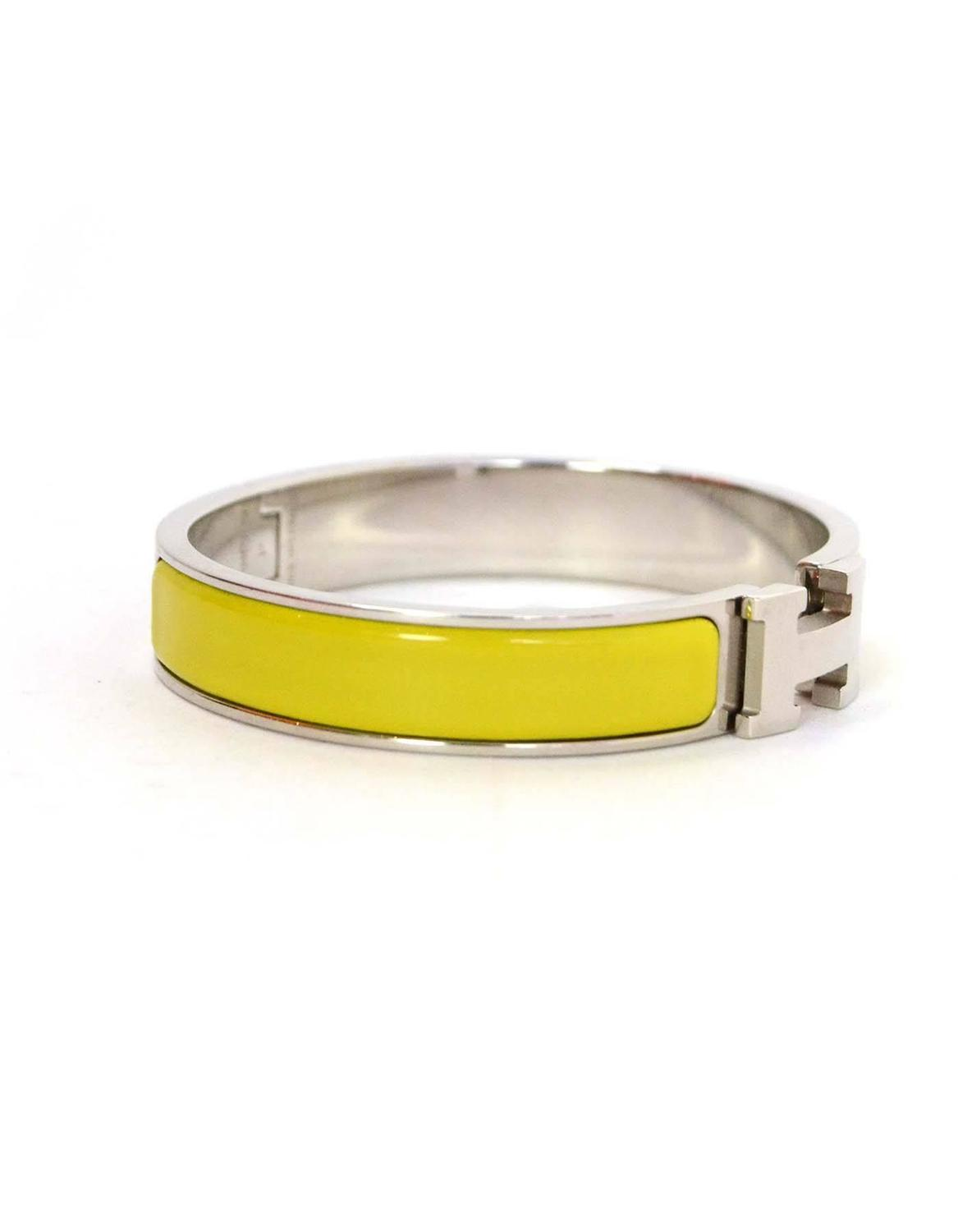 hermes yellow enamel narrow h clic clac gm bracelet cuff for sale at 1stdibs