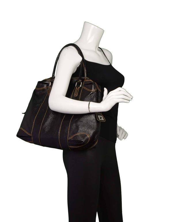 Fendi Black Grained Patent Leather Tote