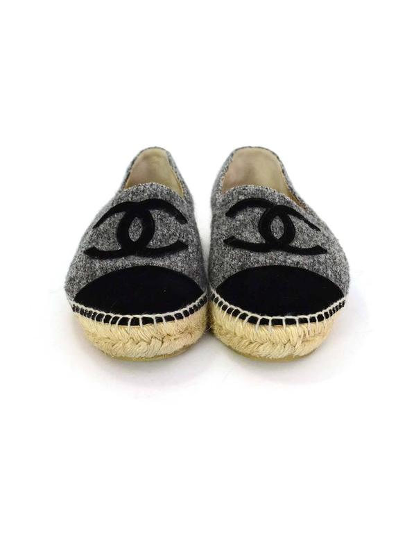 Chanel 2016 Black And Grey Wool And Velvet Cc Espadrilles