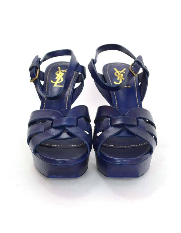 Yves Saint Laurent Ysl Navy Leather Tribute 75 Strappy
