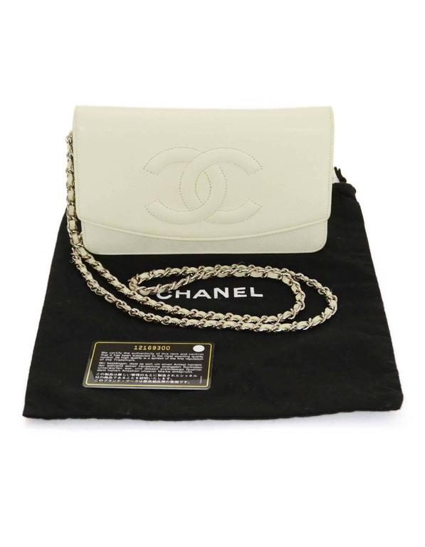 9b22c5c49b7c Chanel Ivory Caviar Timeless Wallet On Chain WOC Crossbody Bag SHW For Sale  5