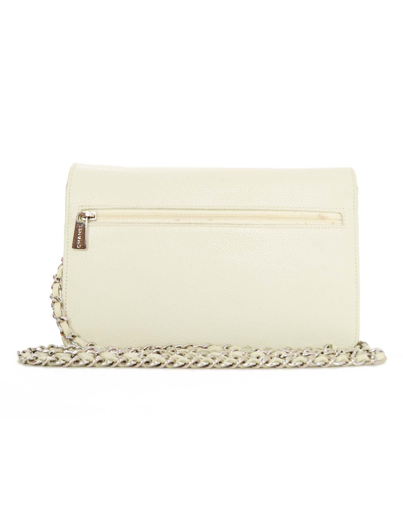 f46409ca5968 Chanel Ivory Caviar Timeless Wallet On Chain WOC Crossbody Bag SHW For Sale  at 1stdibs