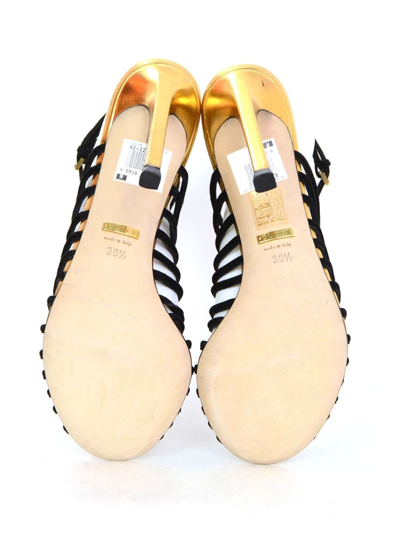 0806bcca512644 Gucci Black Suede Angelique Cage Sandals sz 39.5 For Sale at 1stdibs