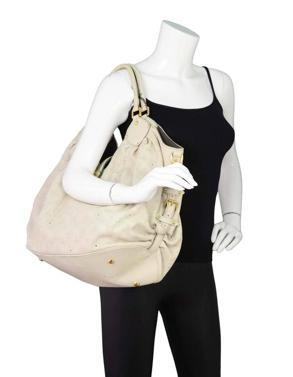 3f1eadc2642 Louis Vuitton Ivory Leather Perforated Monogram Mahina XL Hobo Bag GHW For  Sale 5