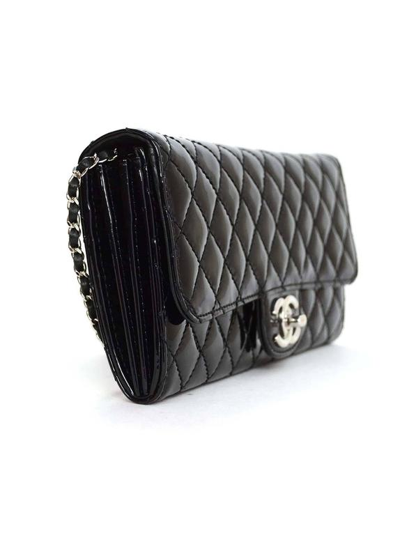 Chanel Black Patent Leather Quilted East West Flap Shoulder Clutch Bag In Excellent Condition