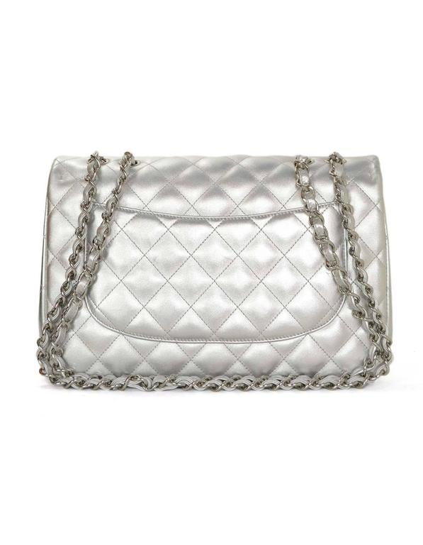 0d9974192fe4 Chanel Metallic Silver Lambskin Single Flap Quilted Jumbo Bag Dust  bag Card Box In