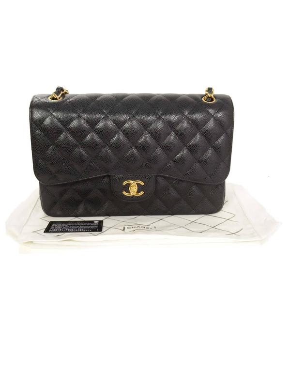 b1626e90b121 Chanel 2015 Black Quilted Caviar Leather Double Flap Classic Jumbo Bag For Sale  6