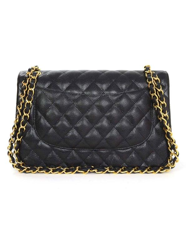 c625432f100d Chanel 2015 Black Quilted Caviar Leather Double Flap Classic Jumbo Bag In  Excellent Condition For Sale