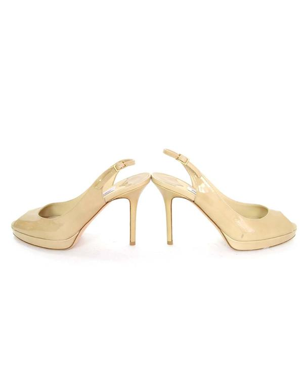 258c5c957e4 Jimmy Choo Nude Patent Leather Slingback Peep-toe Pumps Sz 38 For Sale 2