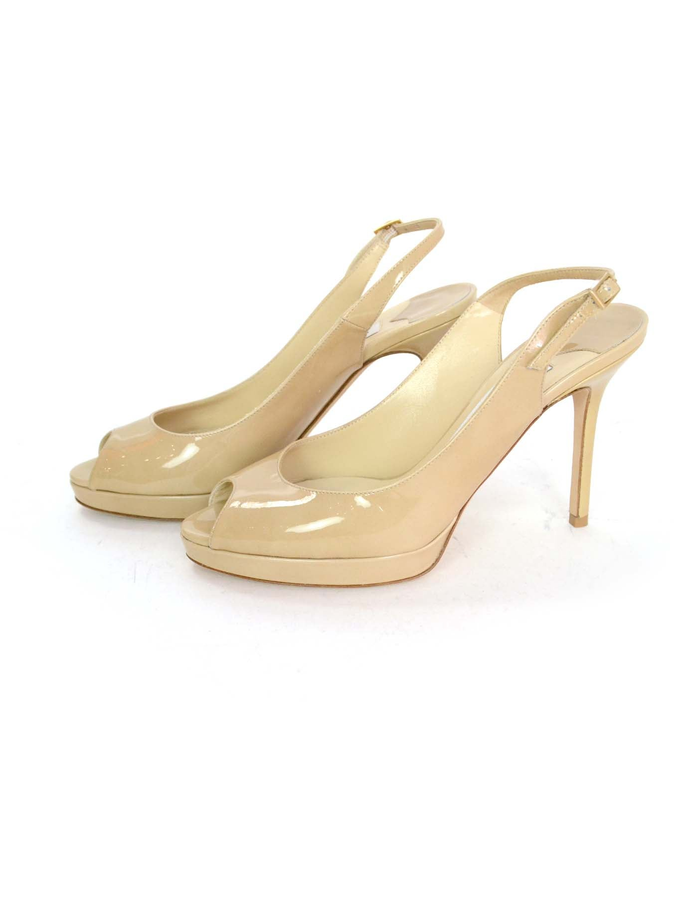d5c40e05b19 Jimmy Choo Nude Patent Leather Slingback Peep-toe Pumps Sz 38 For Sale at  1stdibs