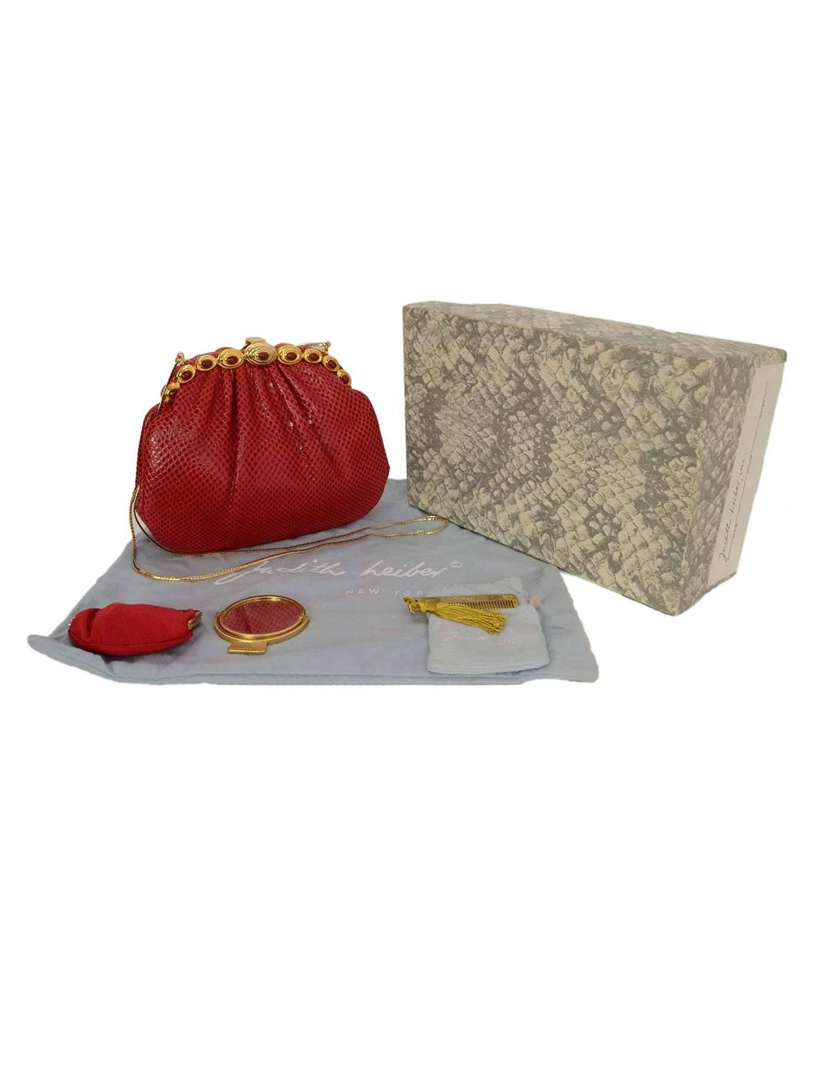 Judith Leiber Red Karung Snakeskin Clutch with GHW at 1stdibs
